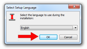 "Select a setup language, default is the current Windows language. Then click ""OK""."
