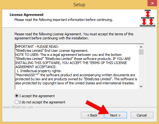 "Read the End USer License agreement and accept. Then click ""Next""."