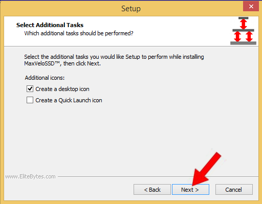 "Select additional tasks and click ""Next"" to proceed."