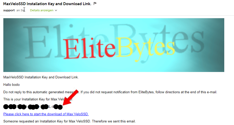 The MaxVeloSSD™ application will start now, asking for your installation key. This is the key you requested earlier. Look in the email you got from EliteBytes™ and copy the key to the clipboard.