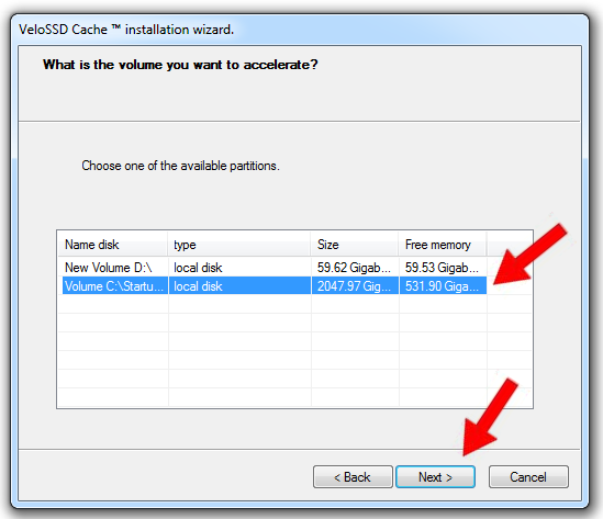 "Select the host volume you want to be cached. Here it is the boot volume ""C:"". Click ""Next"" to proceed."