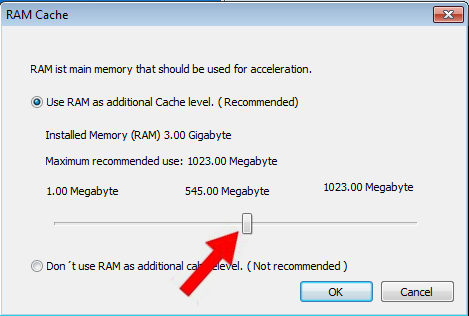 Use the slider to adjust the amount of RAM that will be used as RAM Cache. Then click OK.