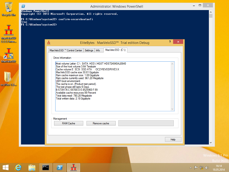 Powershell displays Secure Boot settings.