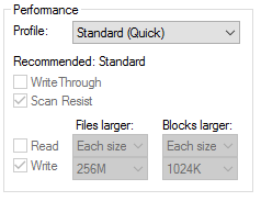 Scan resitant Cache Standard Settings